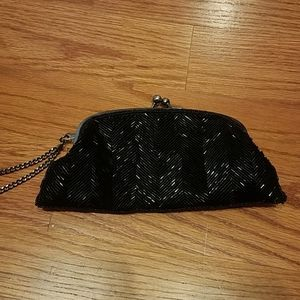 The Limited Black Chevron sequin wristlet dressy